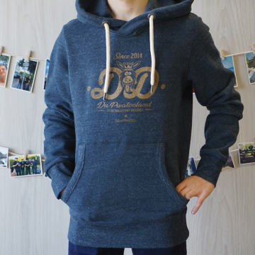 sweat capuche bleu chiné